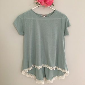 🌺Altar'd State mint green lace flared tee small